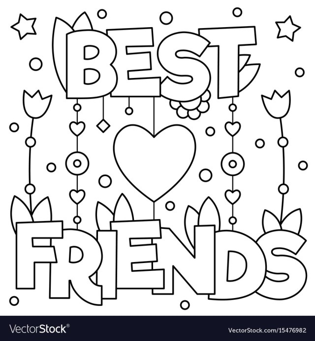 Best friends coloring page Royalty Free Vector Image