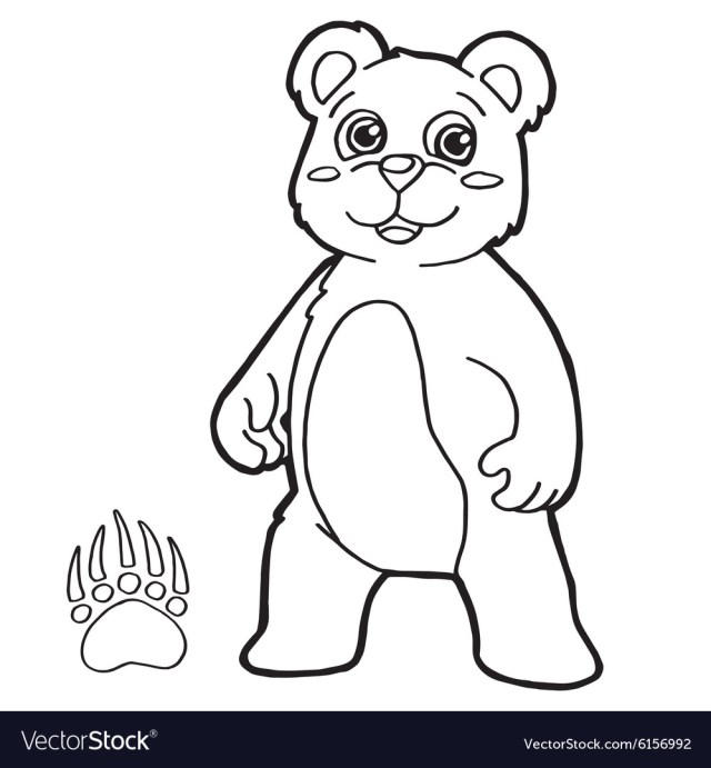 Bear with paw print coloring page Royalty Free Vector Image