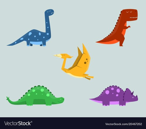 small resolution of dinosaur clipart set for commercial use vector image