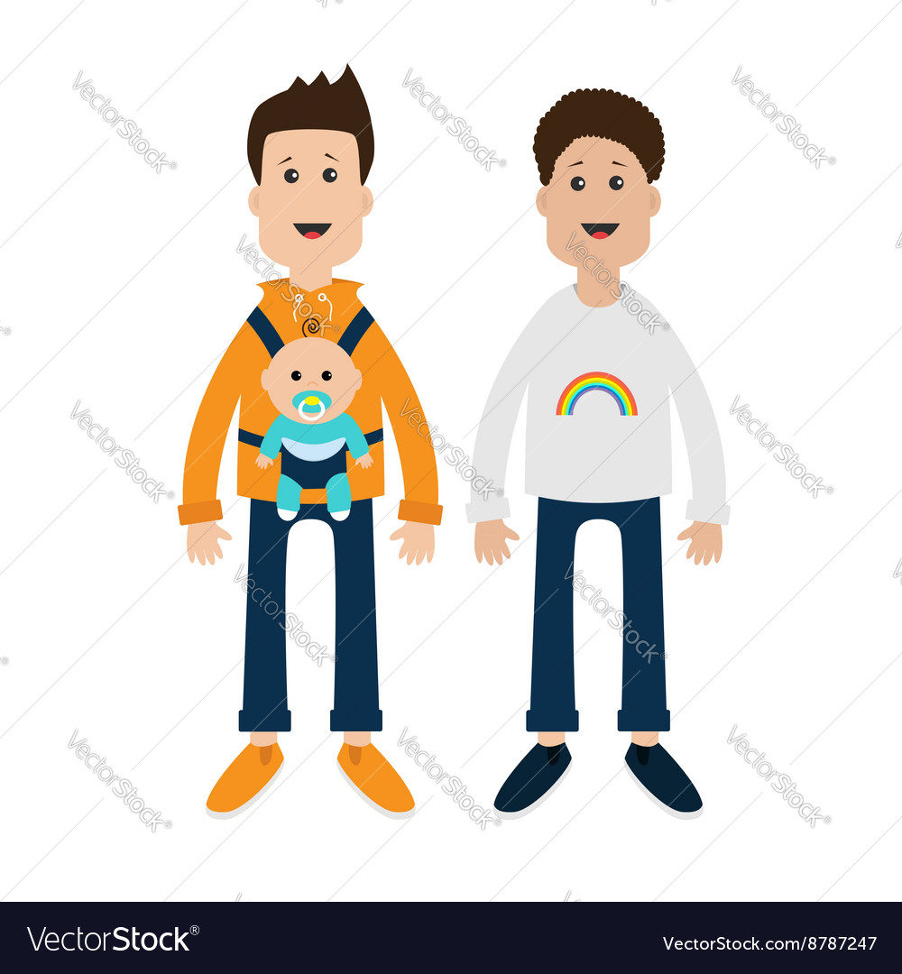 hight resolution of gay family two fathers with baby boy son in baby vector image jpg 1000x1080 gay clipart