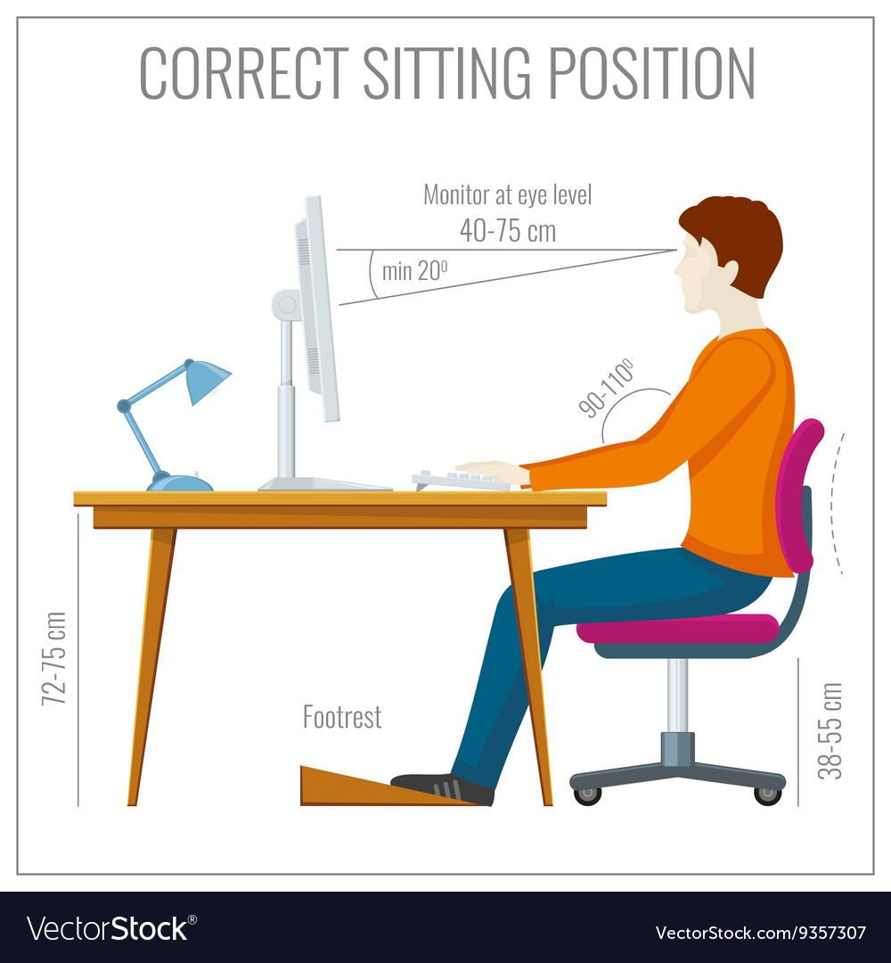 posture monitoring chair walmart shower correct spine sitting at computer vector image