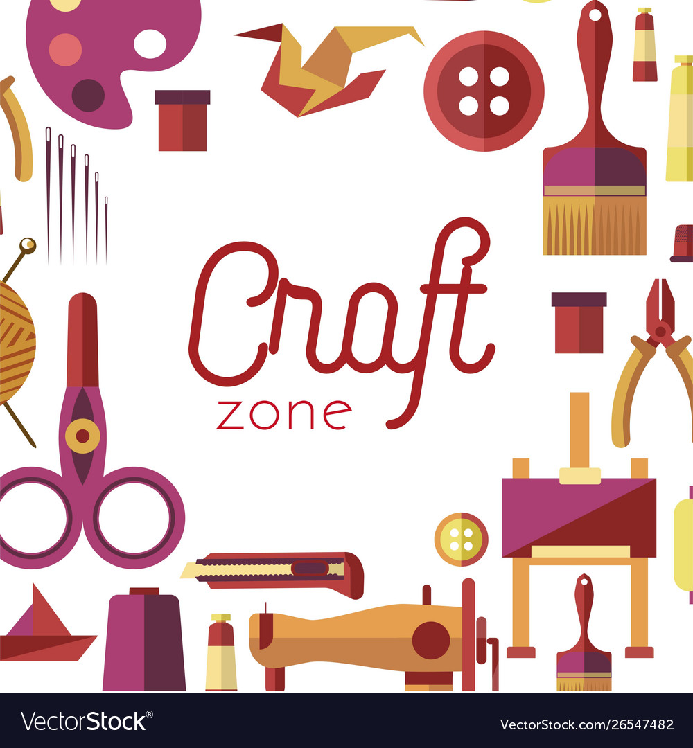 Craft Zone Painting Sewing And Repairing Tools Vector Image