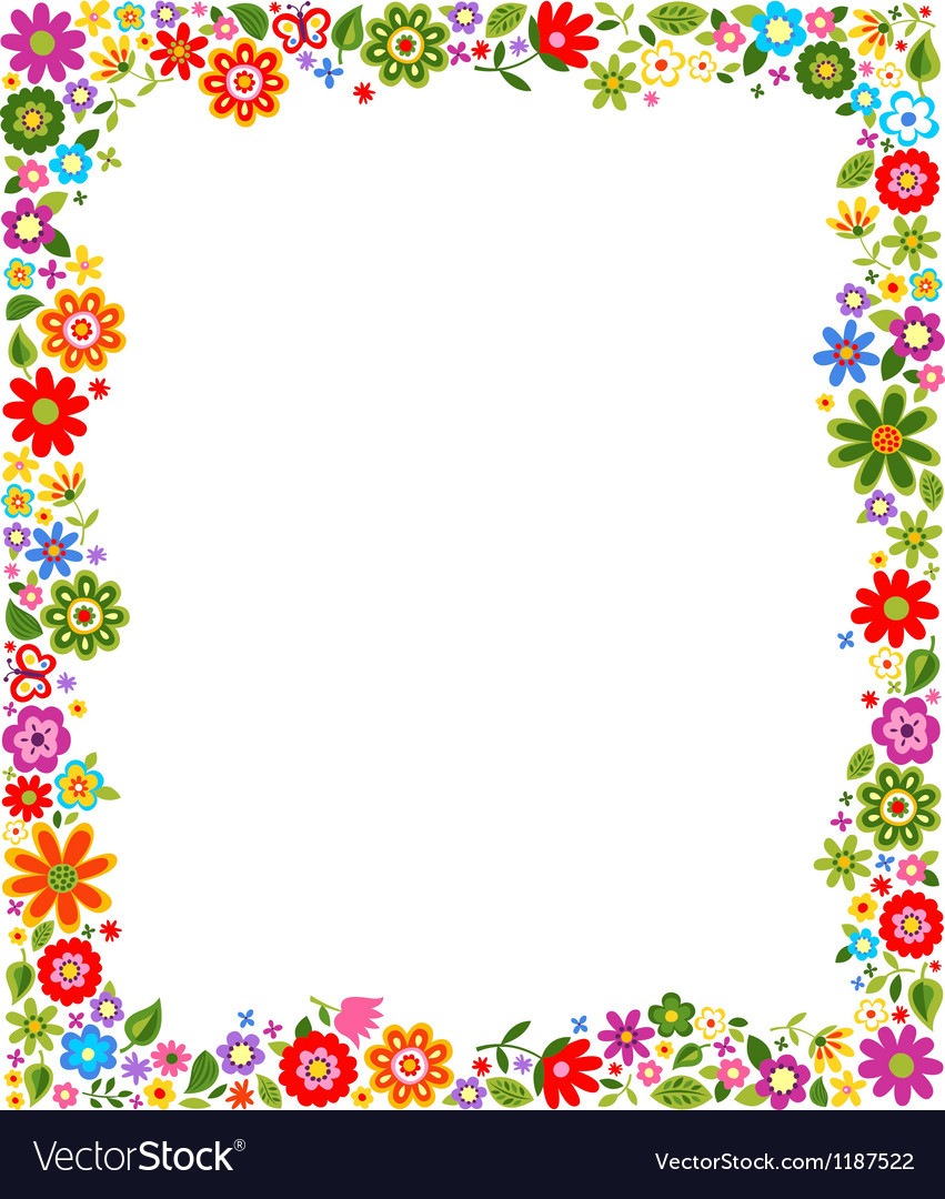 hight resolution of floral border frame background vector image
