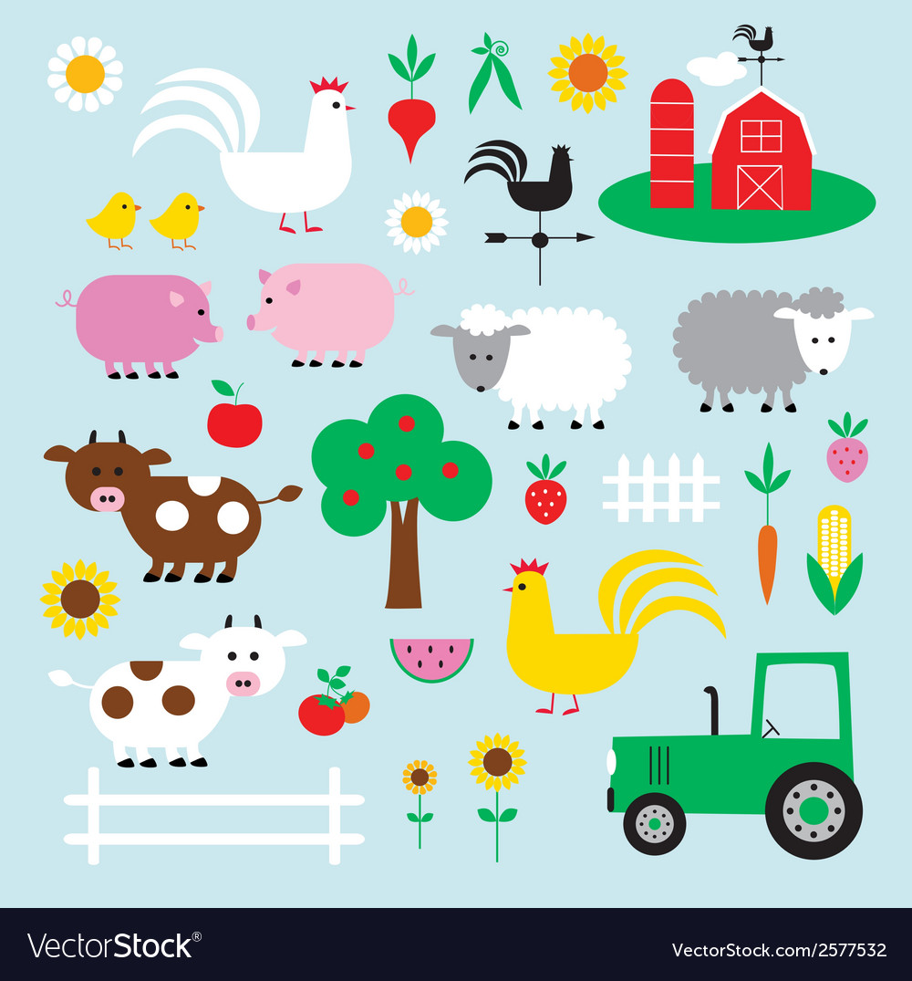 hight resolution of farm clipart vector image