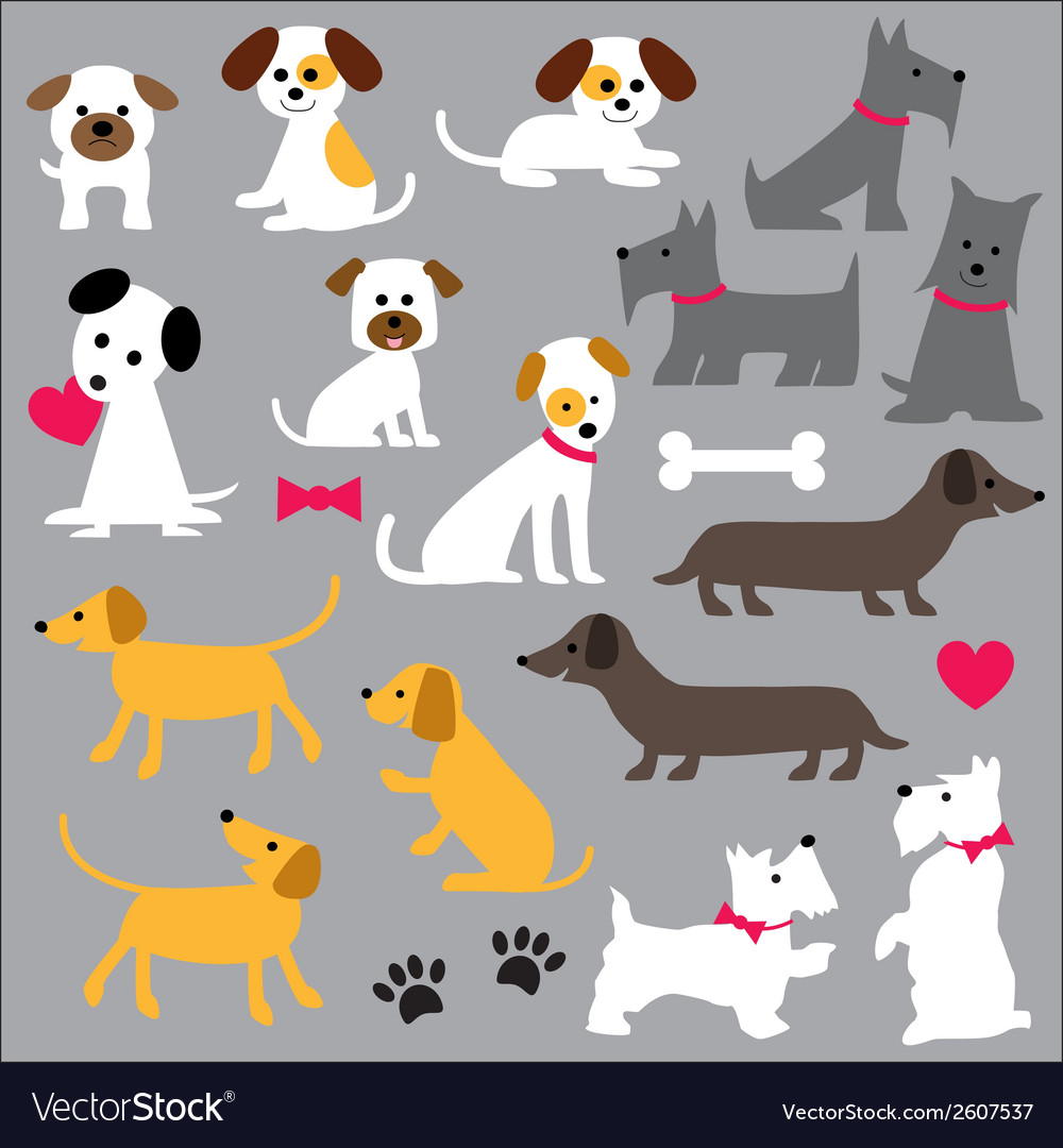 hight resolution of dogs clipart vector image