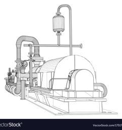 wire frame industrial pump vector image [ 1000 x 936 Pixel ]