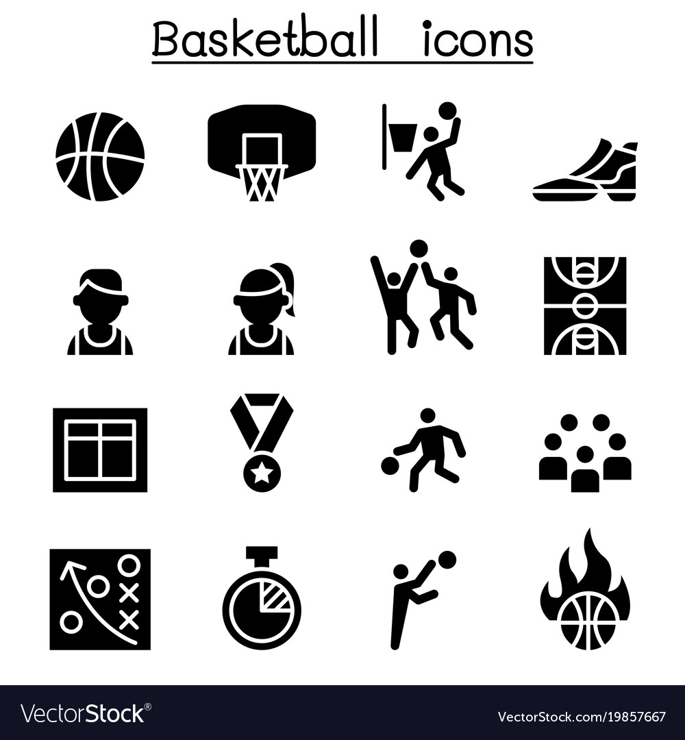 basketball icon set graphic