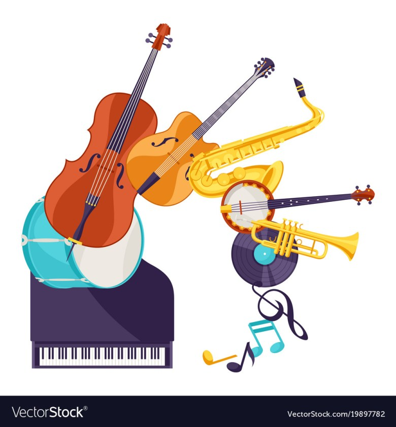 background with musical instruments jazz music vector image
