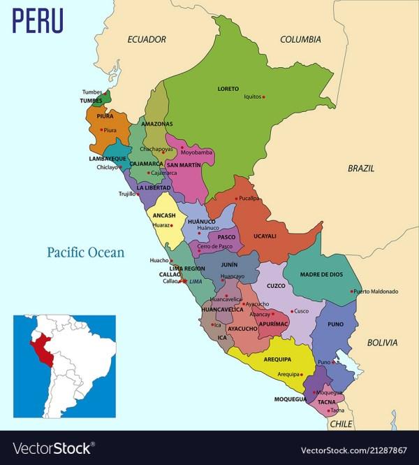 Peru map Royalty Free Vector Image VectorStock