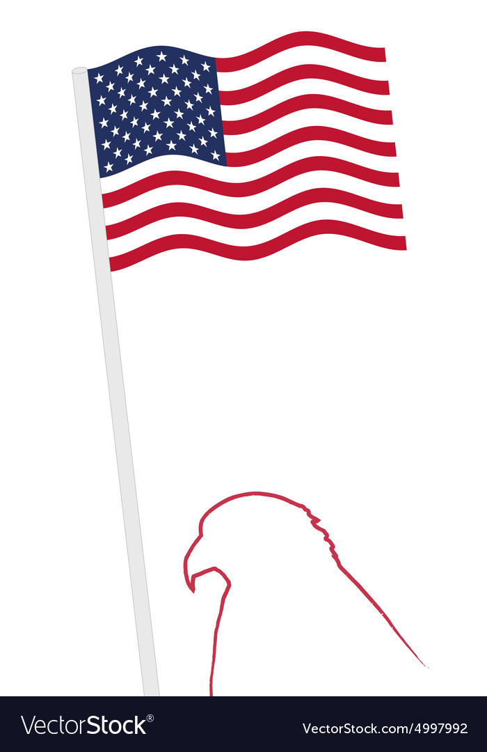 American Flag And Eagle Shape Outline Royalty Free Vector