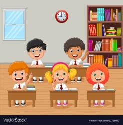 Cartoon school kids raising hand in classroom Vector Image