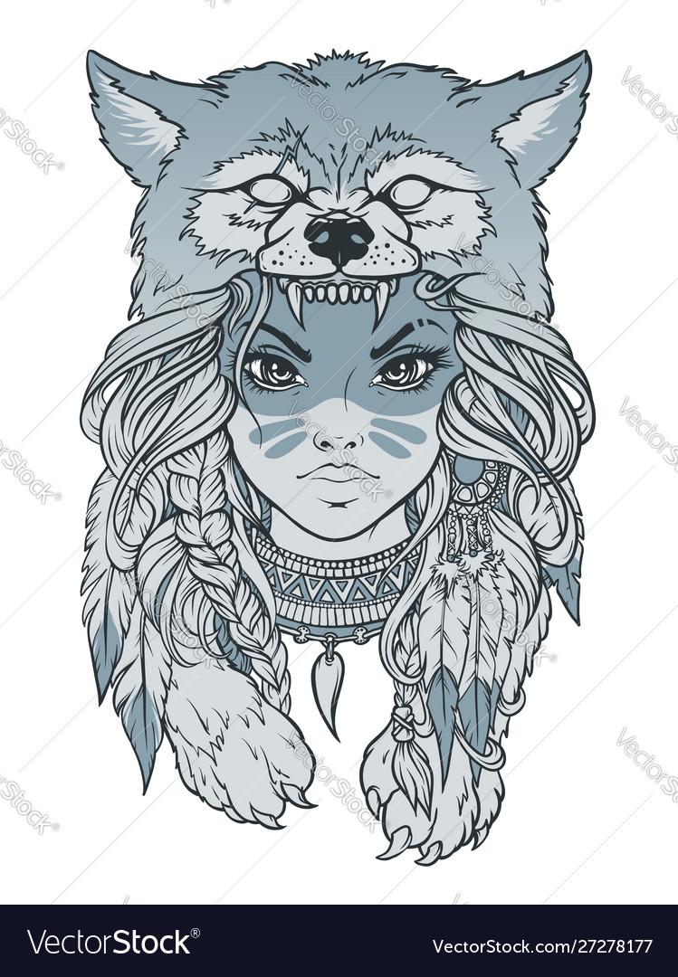 Wolf With Headdress : headdress, Native, American, Headdress, Vector, Image