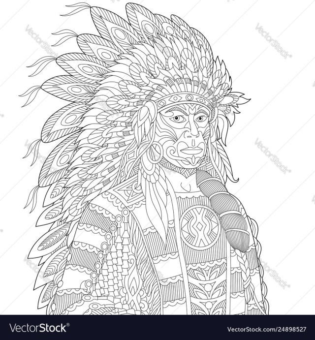 Native american indian chief adult coloring page Vector Image