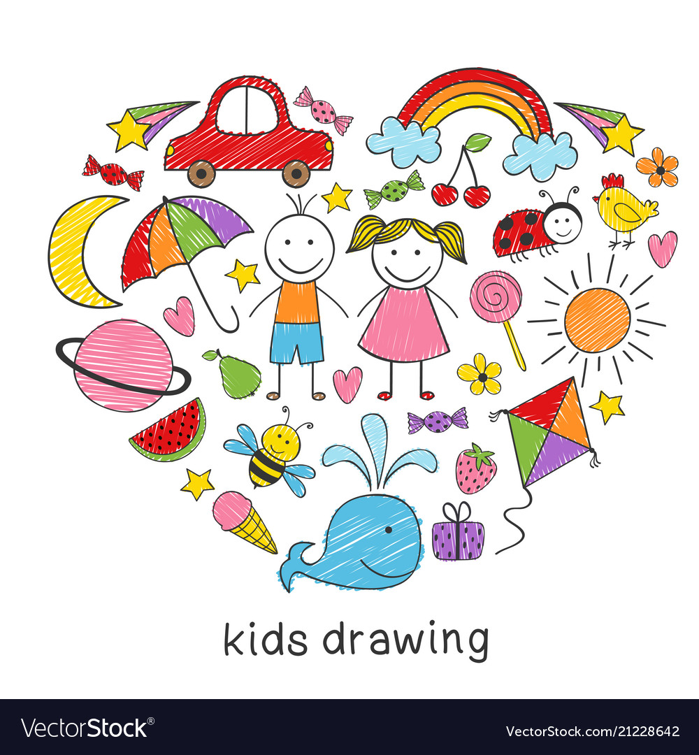 colored kids drawings in