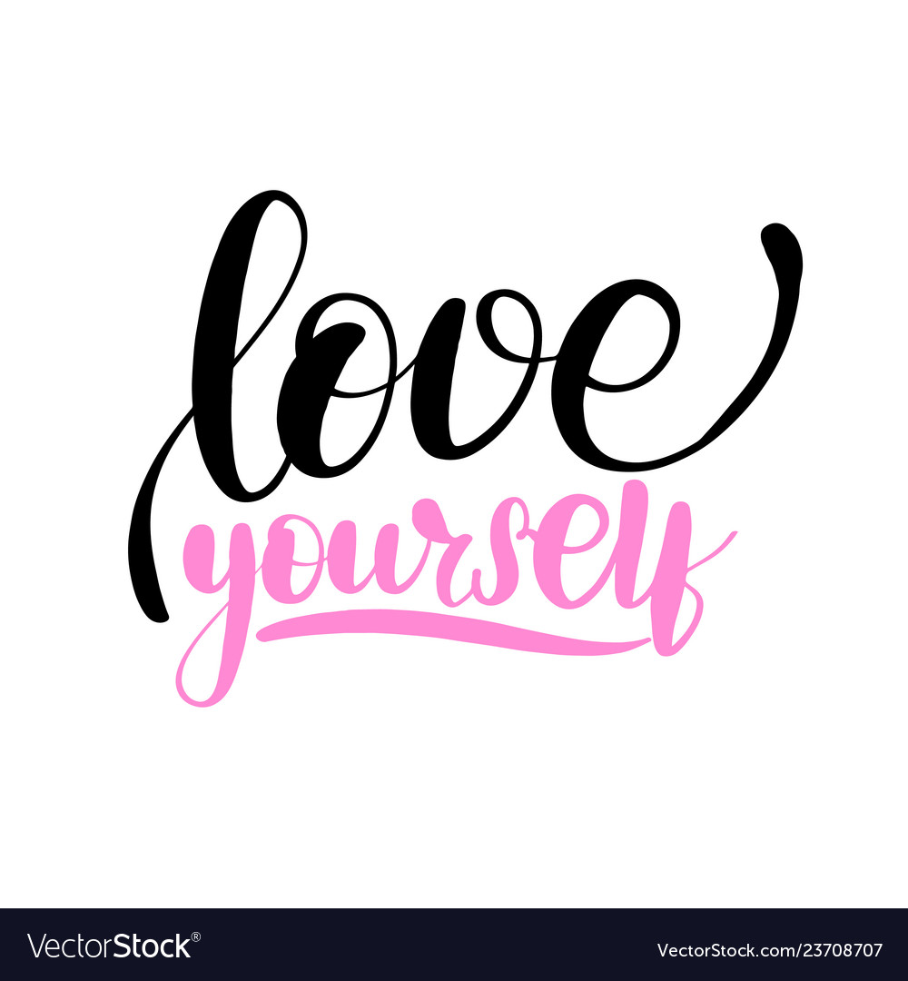 Download Love yourself lettering card typographic Vector Image