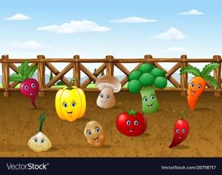 cartoon garden farm vegetables background vector