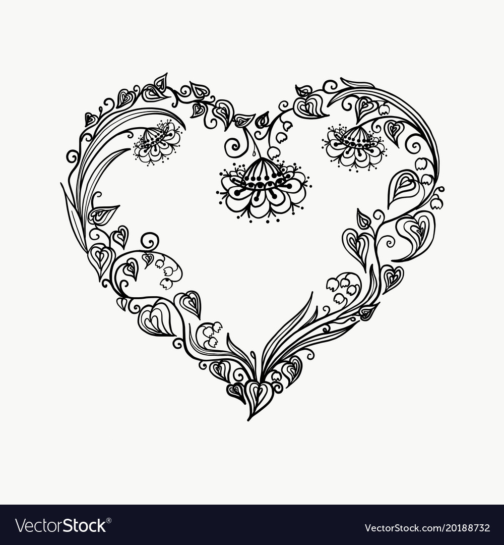 heart of flowers graphic