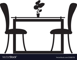 silhouette dining table room vector chairs monochrome two