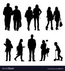 People silhouette walking and couple Royalty Free Vector