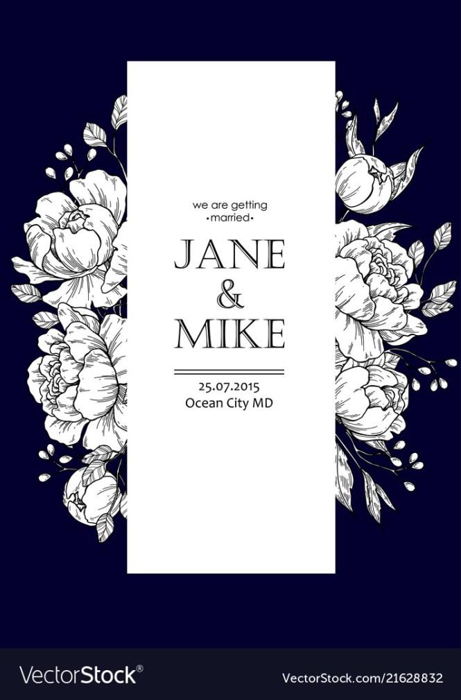 Dark Blue Wedding Invitation Card