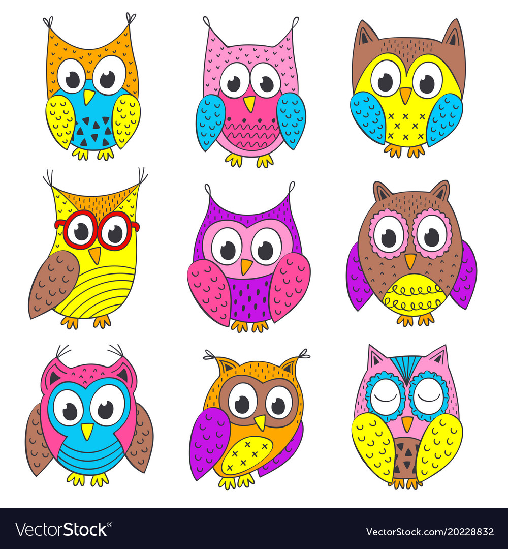 Set Of Isolated Funny Owls In Color Royalty Free Vector
