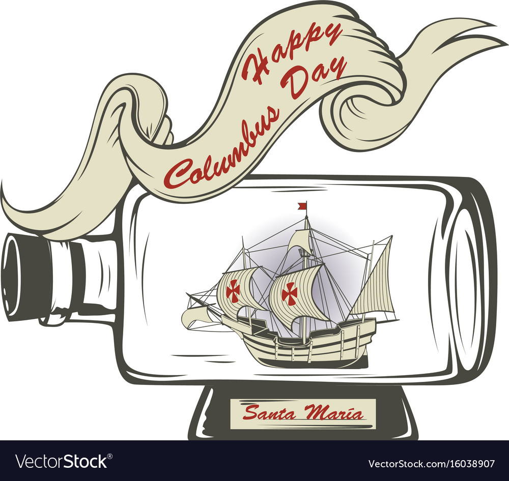 hight resolution of christopher columbus day card vector image