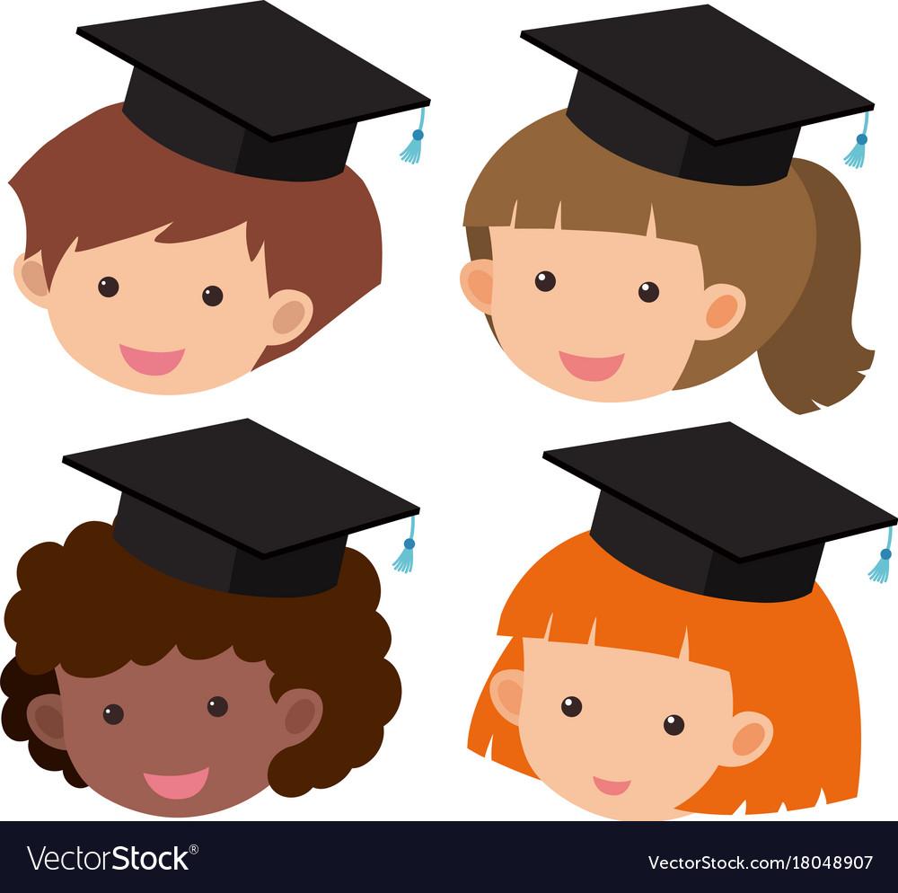 four kids wearing graduation