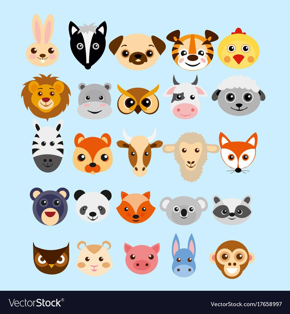 Set Of Cute Cartoon Animals Royalty Free Vector Image