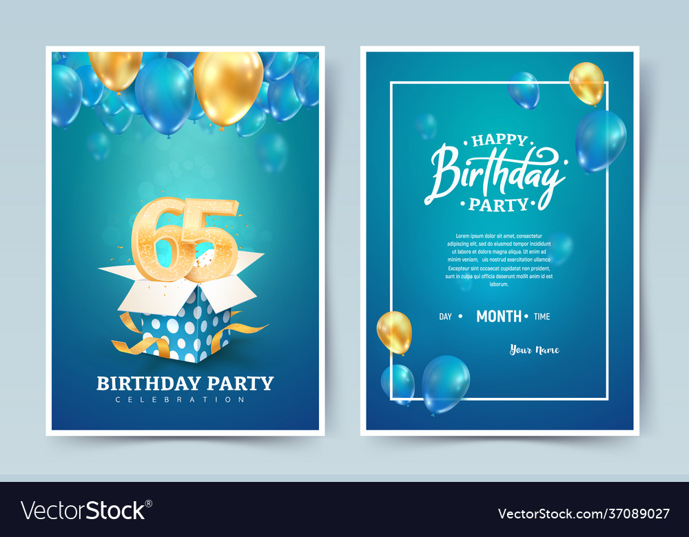 65th years birthday invitation double card vector image