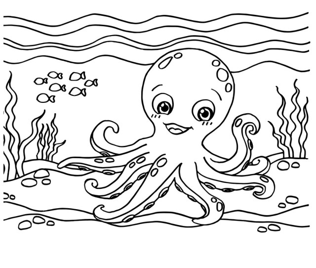 Octopus Coloring Pages Royalty Free Vector Image