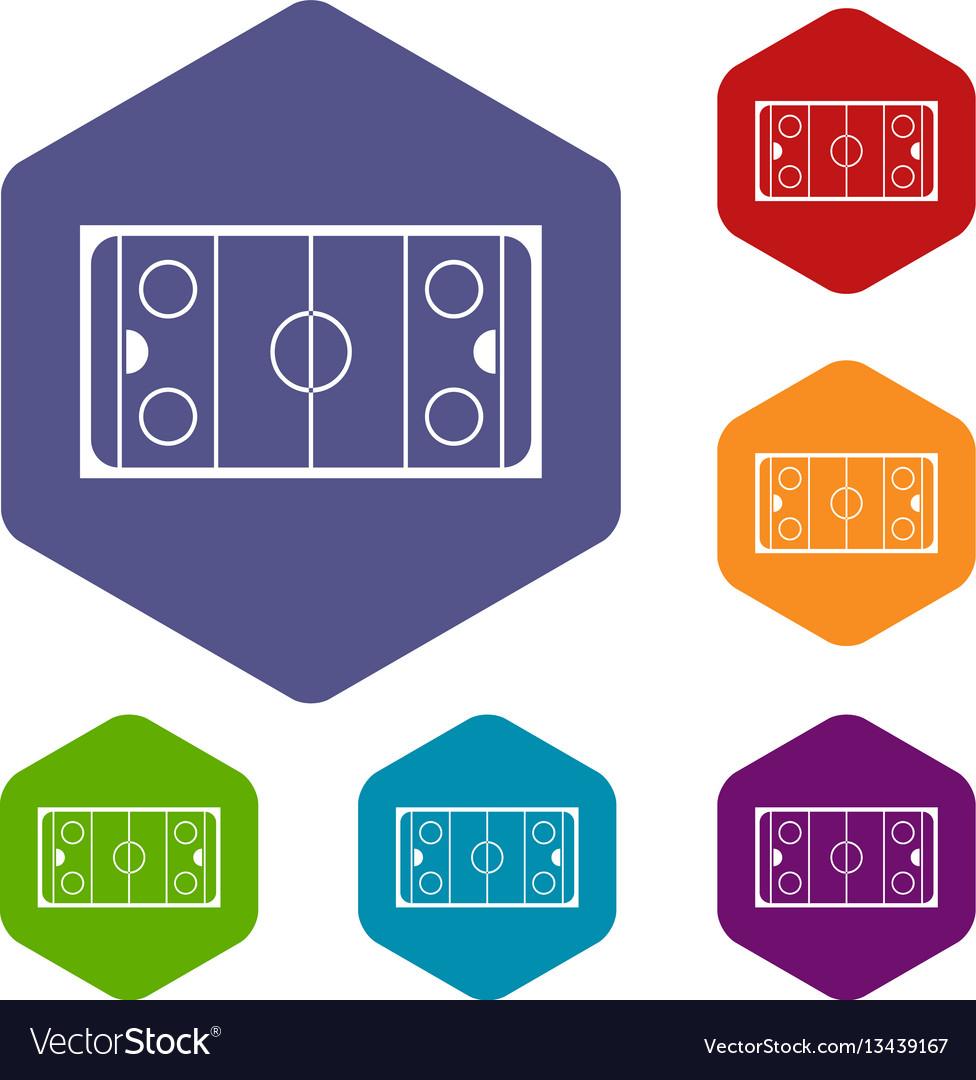 medium resolution of ice hockey rink icons set vector image