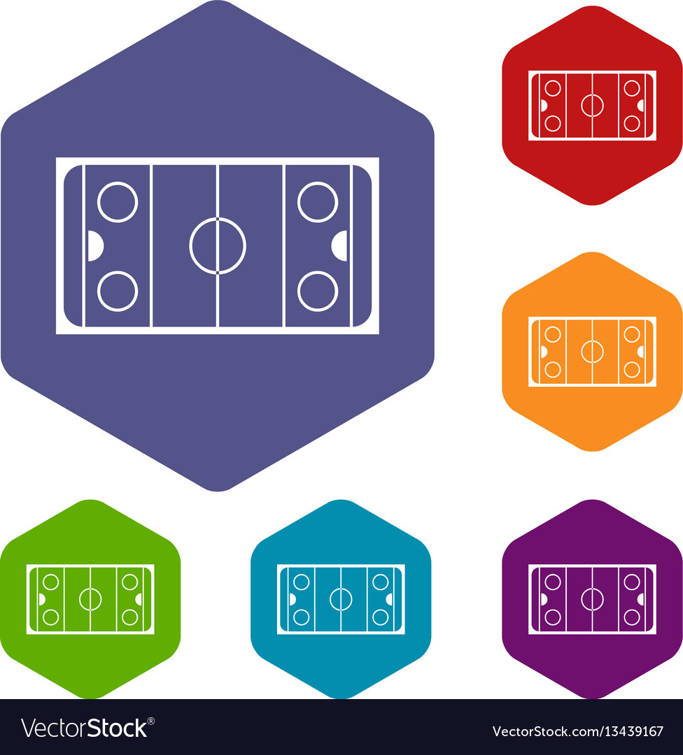 hight resolution of ice hockey rink icons set vector image