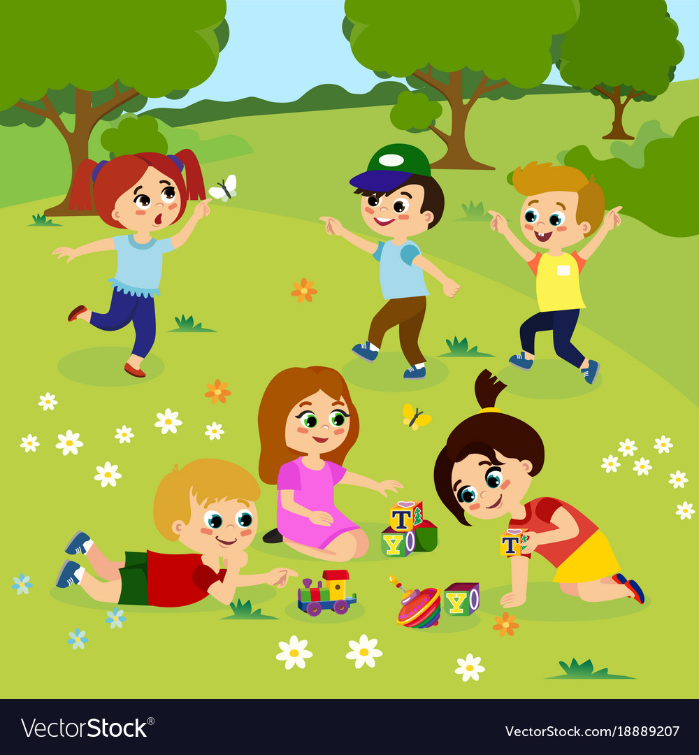 Kids Playing Outside On Royalty Free Vector Image