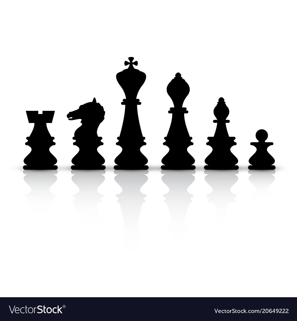 black chess pieces isolated