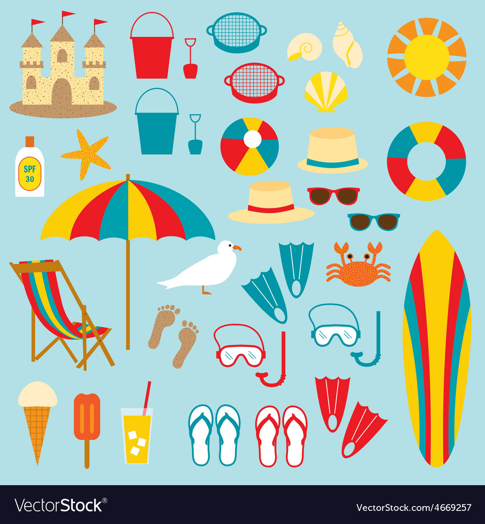 hight resolution of beach clipart vector image