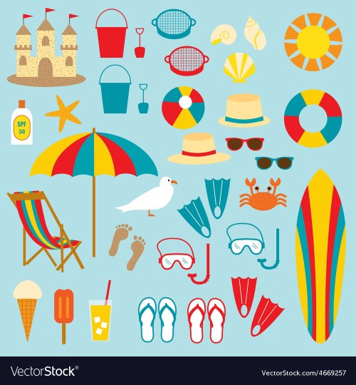 small resolution of beach clipart vector image
