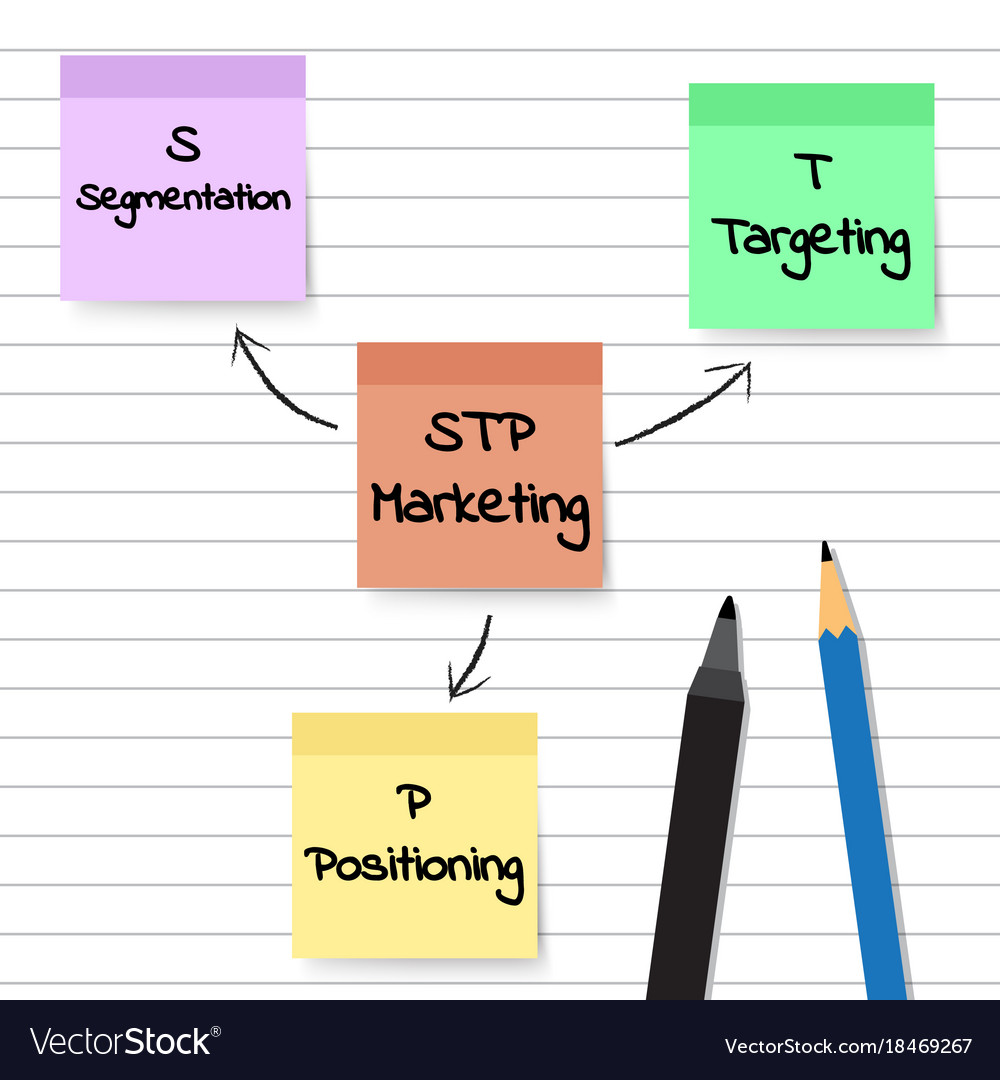 hight resolution of stp marketing diagram sticky notes vector image