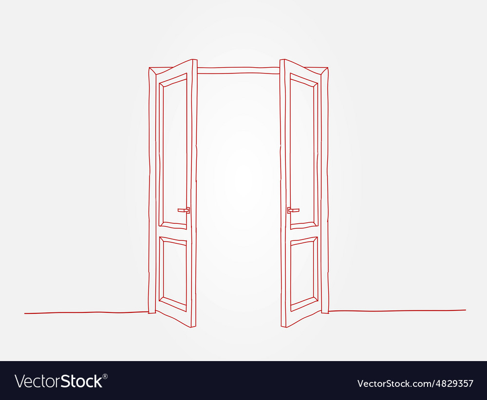 hight resolution of red contour doors vector image