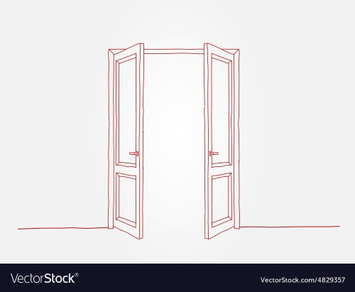 small resolution of red contour doors vector image