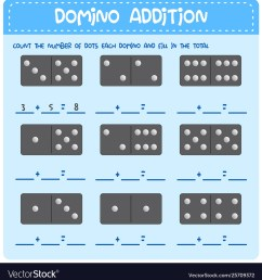 Domino math addition worksheet Royalty Free Vector Image [ 1080 x 983 Pixel ]
