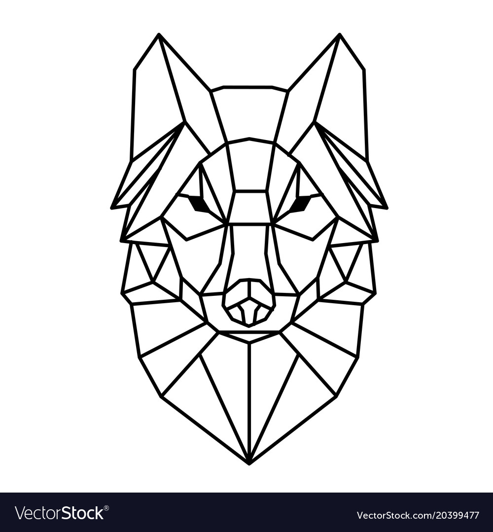 Geometric Wolf Head Tattoo