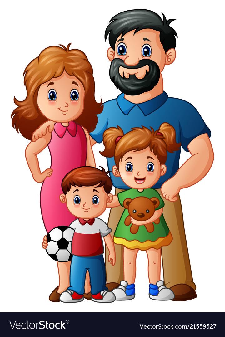 Family Photo Cartoon : family, photo, cartoon, Happy, Family, Cartoon, Royalty, Vector, Image
