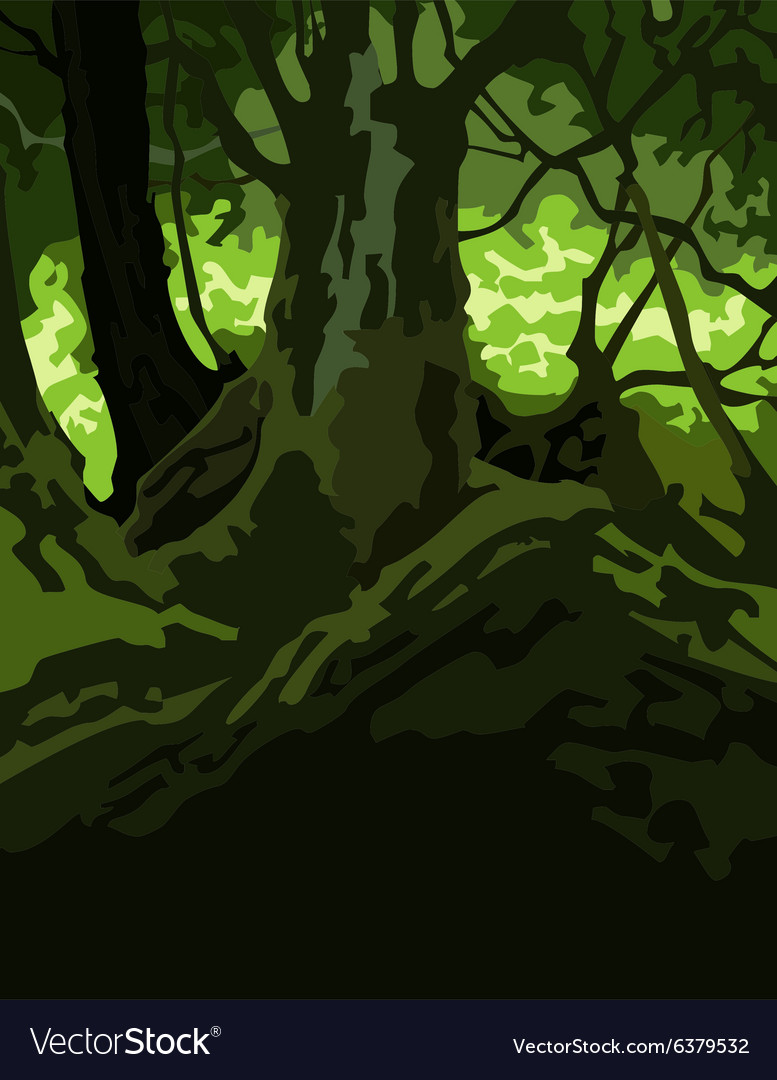 Opaque, with good contrast between light and dark areas. Cartoon Background Dense Forest Green Royalty Free Vector