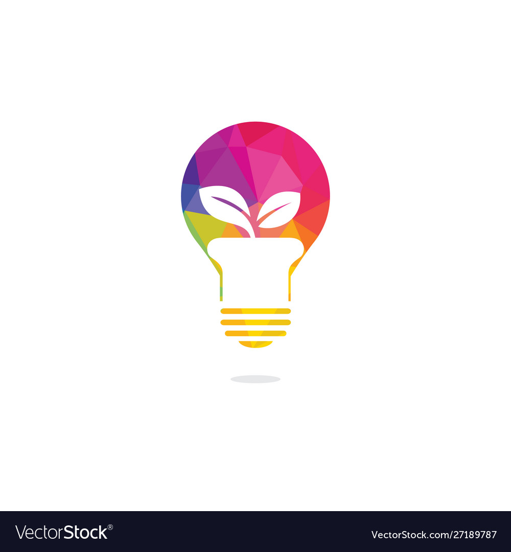 Light Bulb And Plant In A Pot Concept Logo Design Vector Image