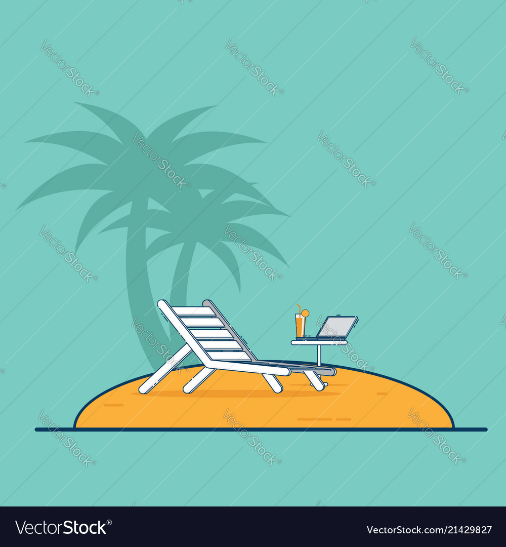 air travel beach chairs wicker indoor dining chair and laptop vacation concept vector image