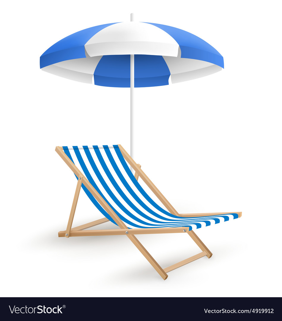 Chair With Umbrella Sun Beach Umbrella With Beach Chair Isolated On
