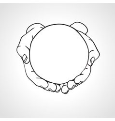 hands cupping object vector