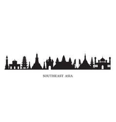 Southeast asia landmarks skyline Royalty Free Vector Image