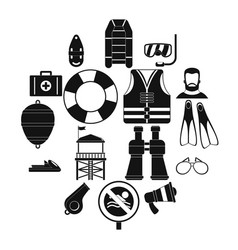 Safety icons set simple style Royalty Free Vector Image