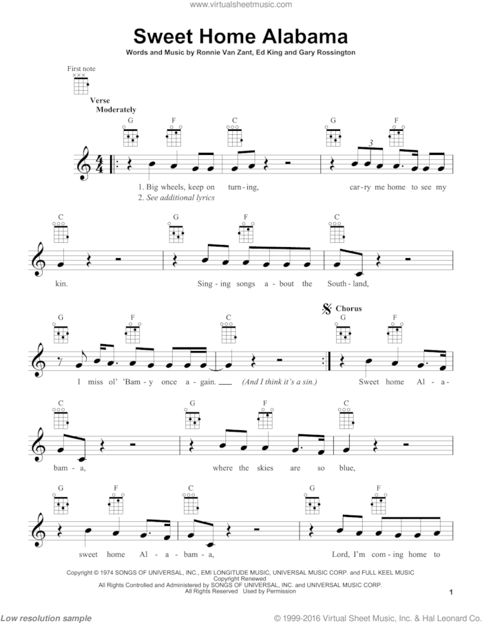 Chords, melody, and music theory analysis of sweet home alabama by lynyrd. Skynyrd Sweet Home Alabama Sheet Music For Ukulele Pdf